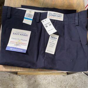36 34 x/ Dockers Navy Pants Easy Khaki Pleated Men